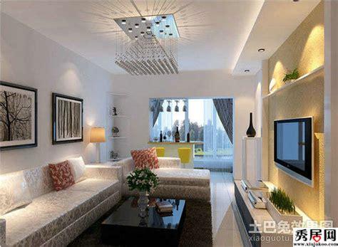 Rectangular Living Room Layout Ideas by 6款现代简约客厅电视背景墙单边石膏板直线吊顶造型效果图片 2 秀居网