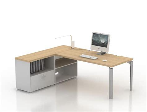 bureaux d angle bureau droit epure 140x80 avec meuble de rangement bas