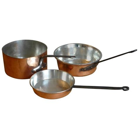 copper pans and pots set of three re tinned copper pots copper pans at 1stdibs
