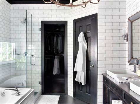 black and white restroom timeless black and white master bathroom makeover bathroom ideas designs hgtv