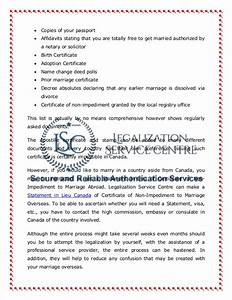 marriage certificate authentication in canada With authentication of documents for use abroad