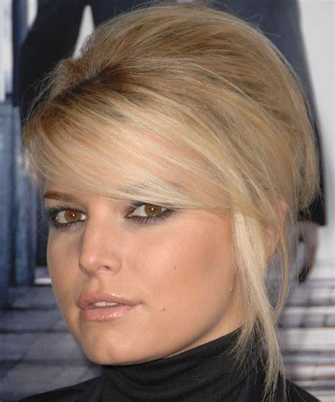 jessica simpson long straight blonde updo  side swept