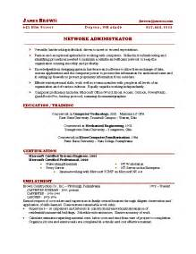 exle resume for network administrator network administrator cv template