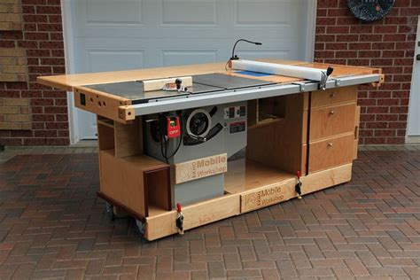 portable table saw outfeed table ekho mobile workshop front view showing cabinet saw