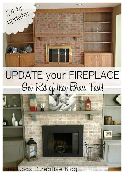 how to update a brick fireplace brass fireplace makeover on