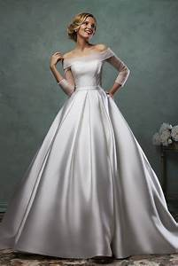Long sleeve satin wedding dress 2015 off the shoulder for Off the shoulder satin wedding dress