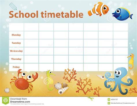 school timetable  cartoon sea animals  background