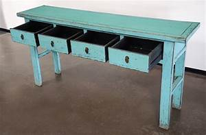 Turquoise Console Entry Hallway Sofa Table With Drawers