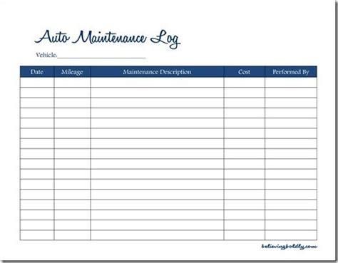 believing boldly auto maintenance log free printable