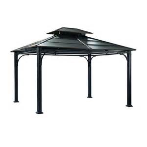 Big Lots Patio Chairs by Shop Sunjoy Black Steel Rectangle Permanent Gazebo