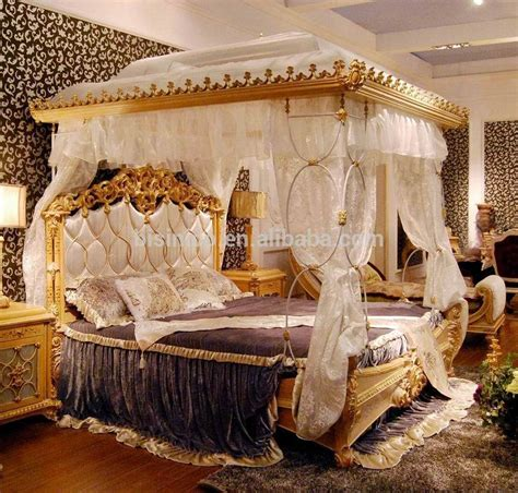 cing 4 chambres luxury rococo style wood carved marquetry canopy