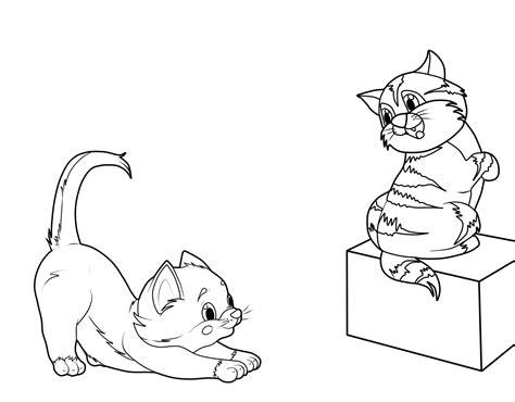kostenlose malvorlage katzen zwei kaetzchen zum ausmalen