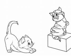 Kostenlose Malvorlage Katzen Zwei Ktzchen Zum Ausmalen