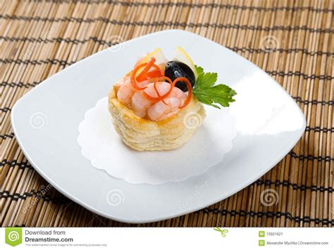 canapes with prawns canapes with prawns and lemon stock image image 13921621