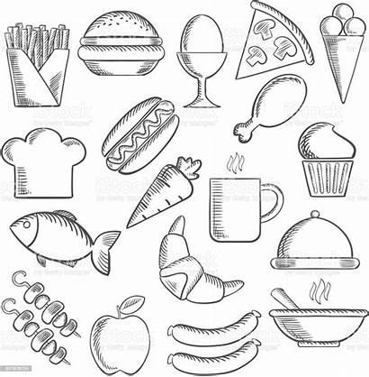 Sketch Snacks Burger Egg Drawing Animal Fries