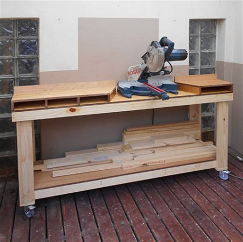 mobile table saw stand home dzine home diy diy mobile workbench for mitre saw