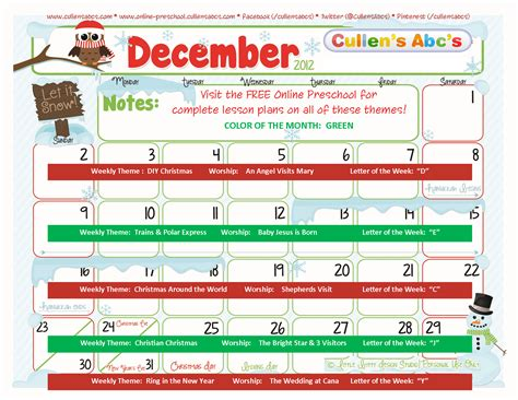 december preschool themes preschool calendars preschool and children s 184