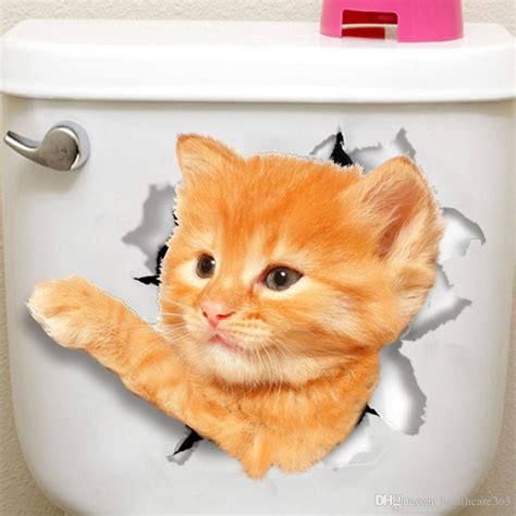 cats wall sticker toilet stickers hole view vivid