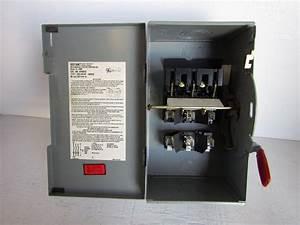 Westinghouse  Bryant Hfn322 3 Pole 60 Amp 240 Volt Nema 1 Disconnect