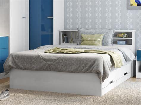 lit boris avec tiroirs et rangements blanc 140x190cm