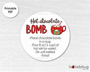 Hot Chocolate Bomb Tag  Hot Cocoa Bomb Instructions Card