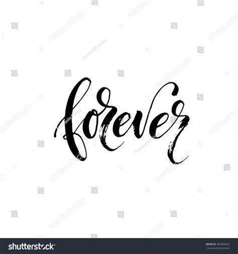 Forever Card Hand Drawn Lettering Background Stock Vector