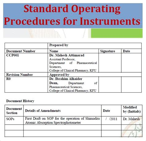 Sop Template Standard Operating Procedure Template Excel Pdf Formats