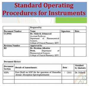 standard operating procedure template excel pdf formats With creating sop template