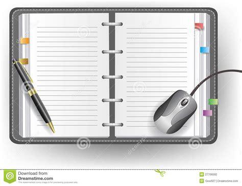 souris de bureau agenda de bureau avec la ligne le stylo bille et la