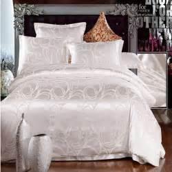 white jacquard home textile bedding set luxury 4pcs tribute silk bed set duvet comforter cover