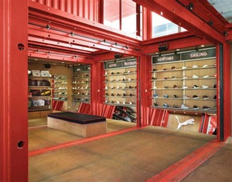 puma city shipping container store lot ek archdaily