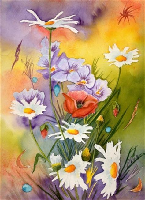 peinture de fleurs moderne fleurs aquarelles acryliques pastels secs dans les chs aquarelle vos fleurs en peinture