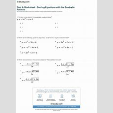 Quiz & Worksheet  Solving Equations With The Quadratic Formula Studycom