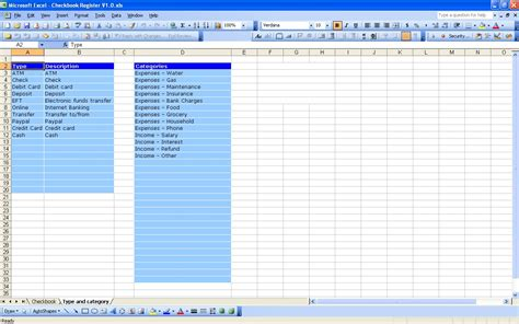 excel bank account template spreadsheet templates