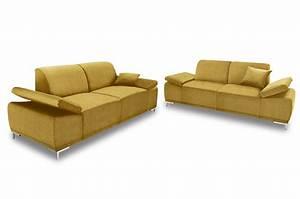 Couch Mit Elektrischer Verstellung : garnitur 3 2 saba gelb mit boxspring sofa couch ecksofa ebay ~ Bigdaddyawards.com Haus und Dekorationen