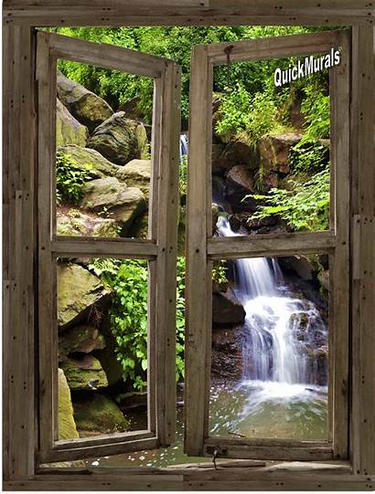 Window Wall Waterfall Cabin Mural Murals Stick