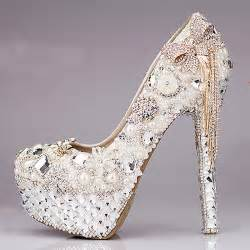beautiful wedding shoes 2015 luxurious bowtie rhinestone ultra high heel shoes pearl crystals wedding dress shoes