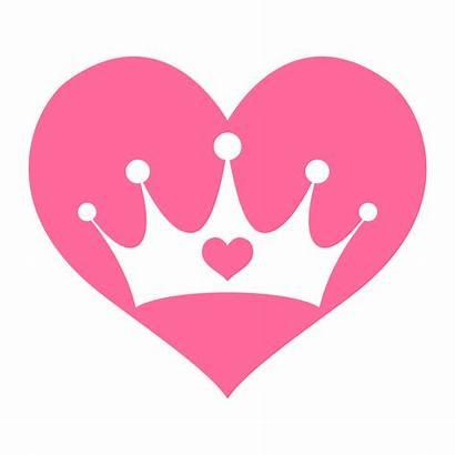 Crown Heart Princess Girly Pink Vector Royalty