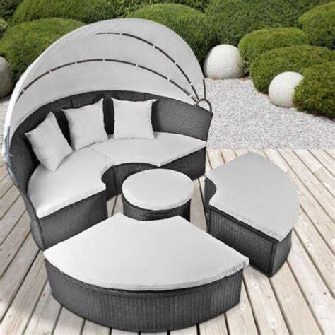 canapé rond but canape de jardin rond modulable gris en résine tressée