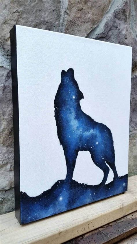 Wolf Painting Double Exposure Night Sky