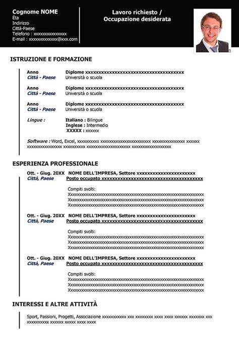 Lebenslauf Herunterladen by Europeo Formato Italiano Curriculum Vitae