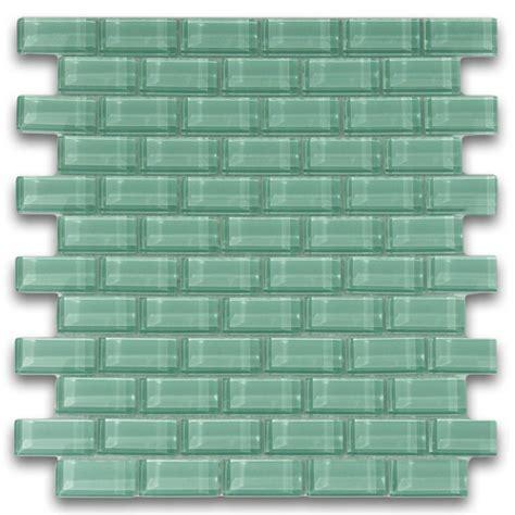 Mini White & Sage Green Glass Tile Shower   Subway Tile Outlet