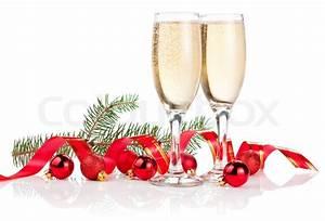 To glas champagne, Rødt bånd , julekugler og Pine Tree ...