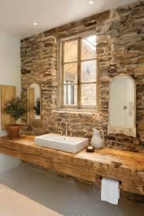 waschtisch aus holz unbehandelt aufsatzwaschbecken natursteinwand bad design interior - Bad Design Holz