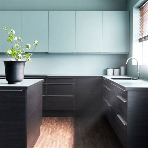 cuisine ikea applad faktum kitchen with gnosjö black wood effect doors drawers and rubrik applåd light turquoise