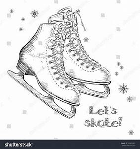 Winter Holidays Card Ice Skates Cartoon Stock Vector ...