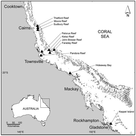 map  ten sites   great barrier reef surveyed