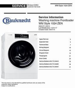 Bauknecht Wm Style 1024 Zen Washing Machine Service Manual