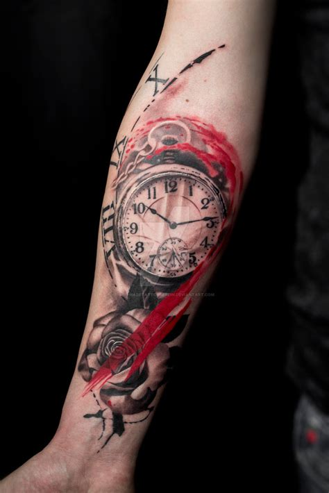 trash polka pocketwatch tattoo  selfmadetattooberlin