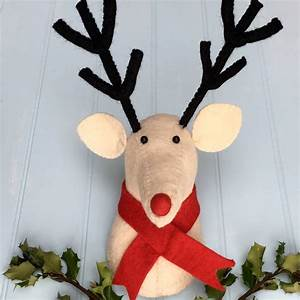 Reindeer, Head, In, White, Felt, Christmas, Decoration, By, Pink, Pineapple, Home, U0026, Gifts